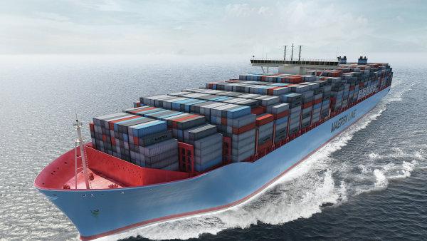 Vizualizace největší kontejnerové lodi třídy Triple-E