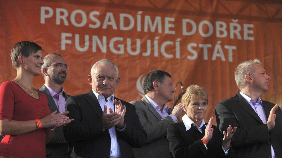 ČSSD na předvolebním mítinku v Ostravě