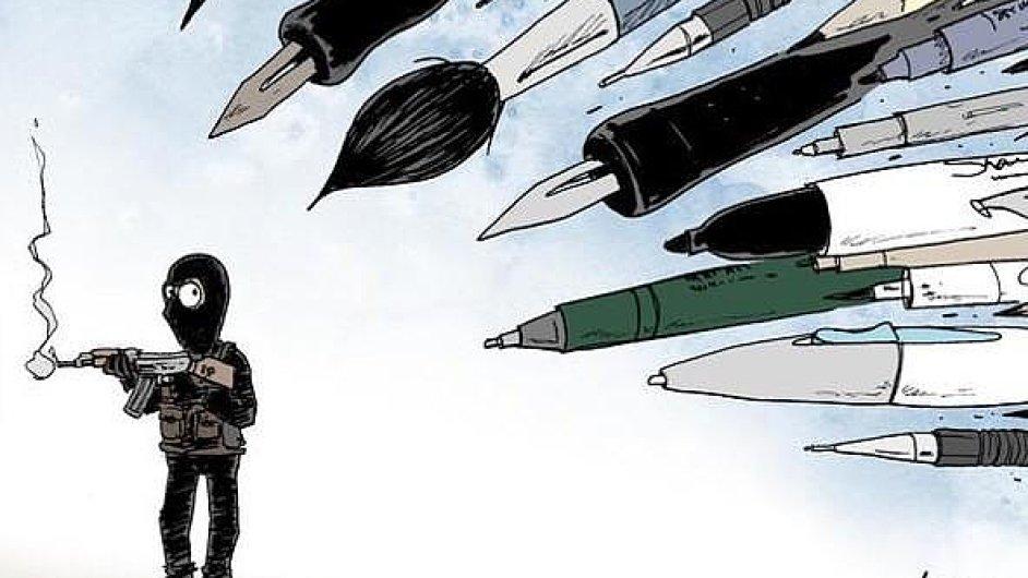 Karikaturisté reagují na útok na redakci Charlie Hebdo.