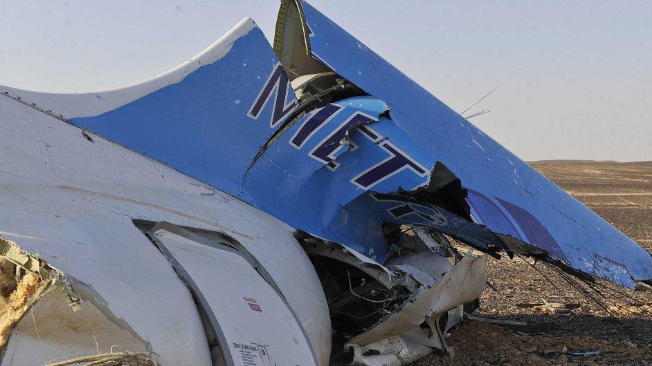Trosky ruského letadla v Egyptě.