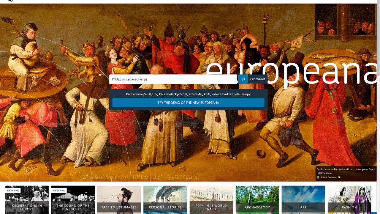Evropa už kulturní portál má. Web Europeana, podobný chystané Czechianě, byť naevropské úrovni, má už zaznamenané miliony uměleckých děl.