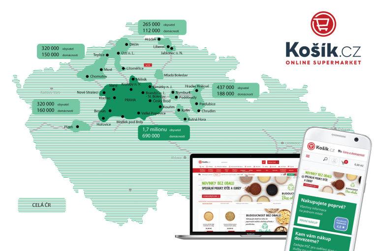 V tmavě zeleně označené oblasti Košík.cz rozváží celý sortiment do tří hodin. Na světle zeleném území pak při ranním objednání dodává do odpoledne nebo do druhého dne.