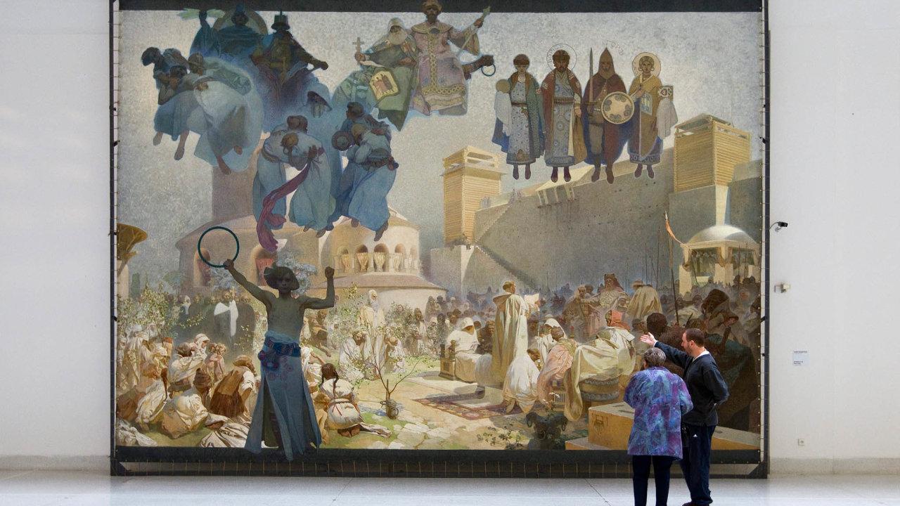 Cyklus dvaceti velkoformátových obrazů zdějin Slovanů vytvořil Alfons Mucha vletech 1912–1926, jeho práci financoval mecenáš Charles Crane.