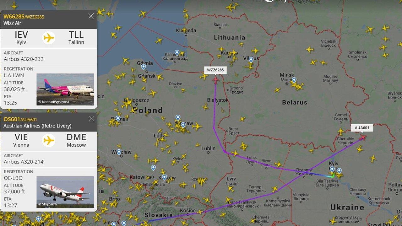 Některá letadla Bělorusko oblétávají.