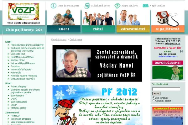 Internetové stránky VoZP