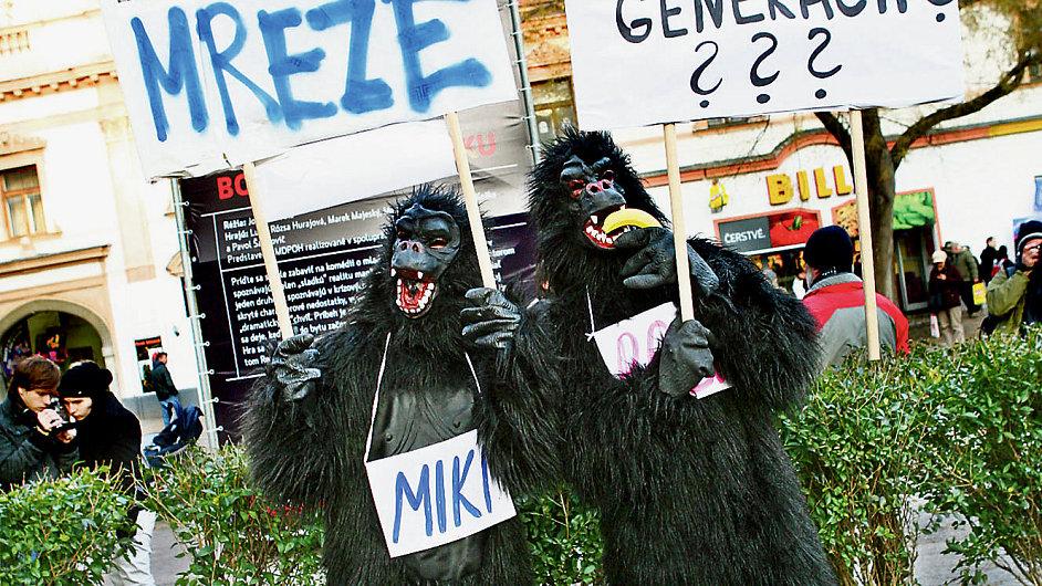 Protesty kvůli kauze Gorila