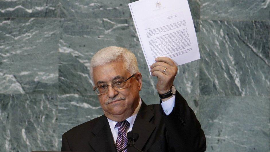 Palestinský prezident Mahmúd Abbás s žádostí v OSN