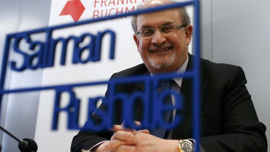 Spisovatel Salman Rushdie při zahájení Frankfurtského knižního veletrhu.