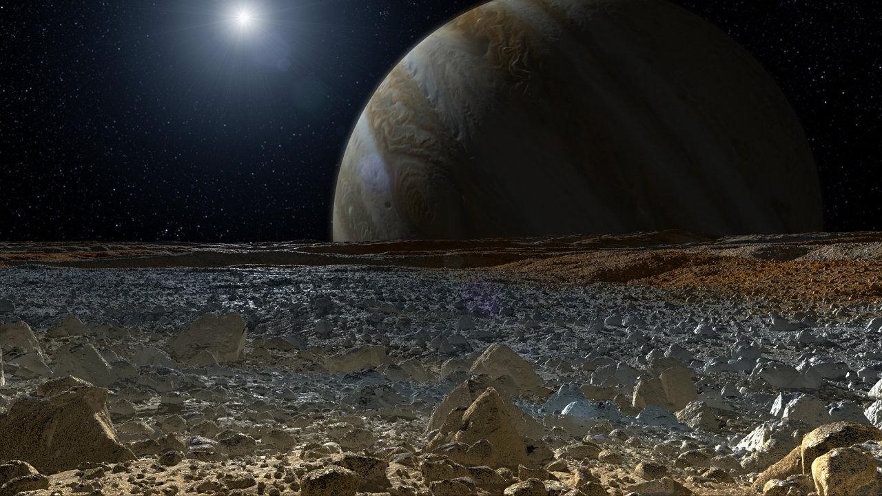 Simulovaný pohled na planetu Jupiter z povrchu jejího měsíce Europa