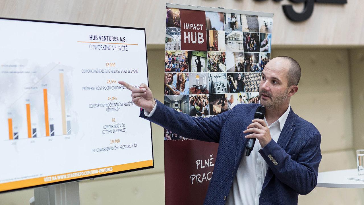 Spoluzakladatel Hub Ventures Zdeněk Rudolský. Firma ovládá asi třetinu trhu scoworkingovými centry vČesku.