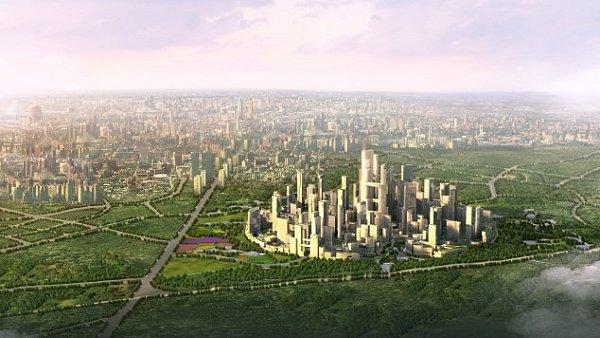 """Nové """"Měšsto bez aut"""", které by mělo vyrůst v Číně."""