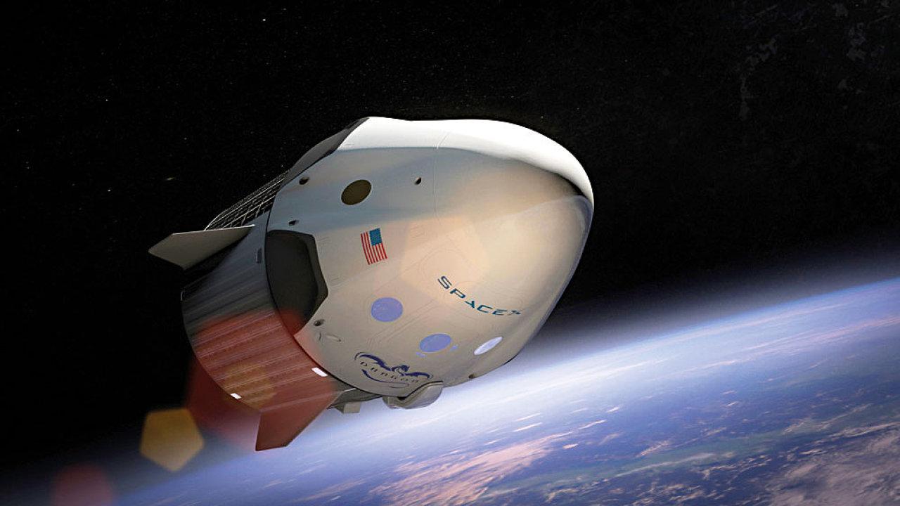 Dragon s astronauty v kosmu, zatím jen v počítačové animaci.