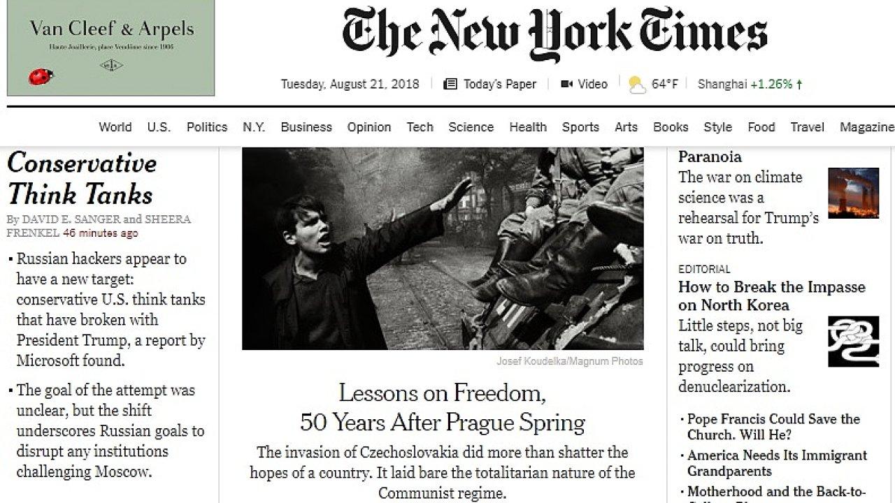 Titulní strana webové verze amerického deníku The New York Times.