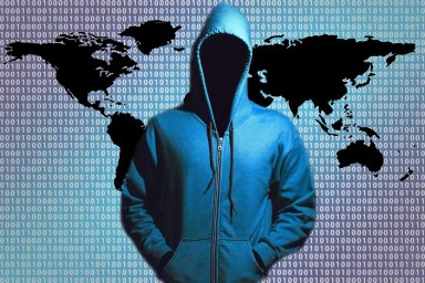 Bezpečná data, hacker, kybernetický útok, ilustrace