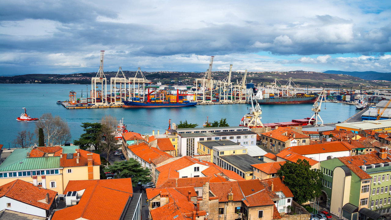 Aerial view of port of Koper