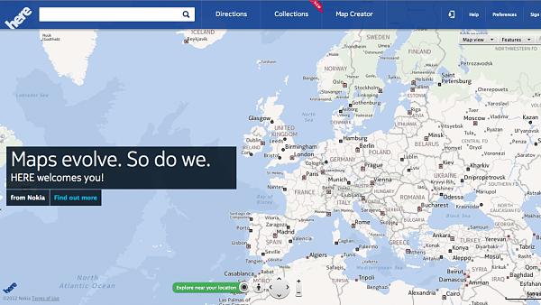Mapové služby Nokia HERE