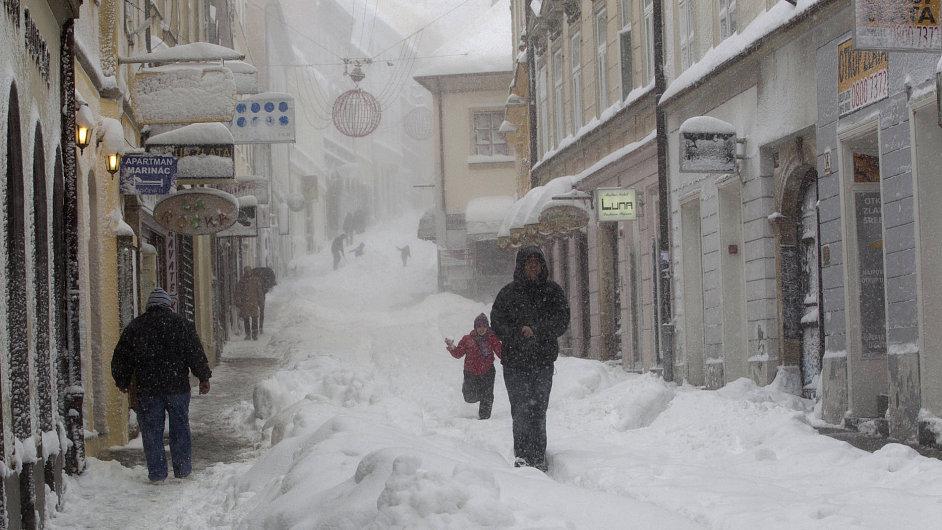 Chorvatská metropole Záhřeb pod sněhem.