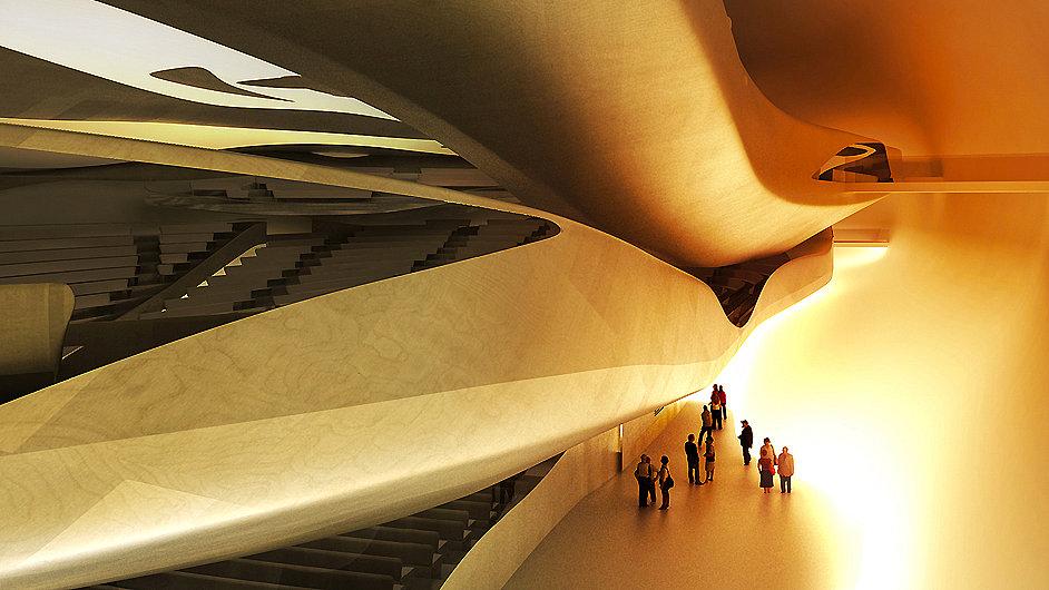 Vizualizace interiéru Pařížské filharmonie podle architekta Jeana Nouvela.