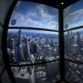 Projekce panoramatu New Yorku, kterou turist� vid� ve v�tahu cestou na vyhl�dkovou plo�inu One World Observatory.