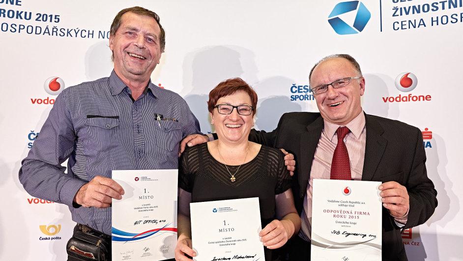 Vítězové regionálního kola Ústeckého kraje v soutěži Česká spořitelna živnostník roku a firma roku 2015.