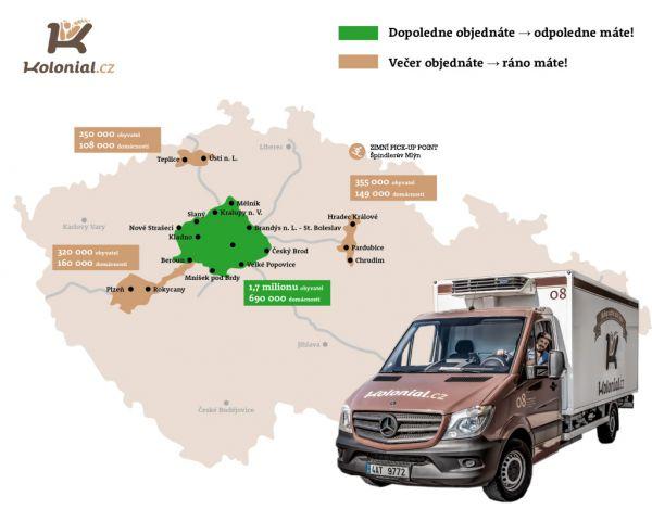 Koloniál.cz - mapa rozvozu 12/2016