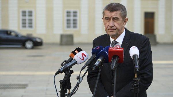 Ministr financí Andrej Babiš po jednání s prezidentem Milošem Zemanem na Pražském hradě.