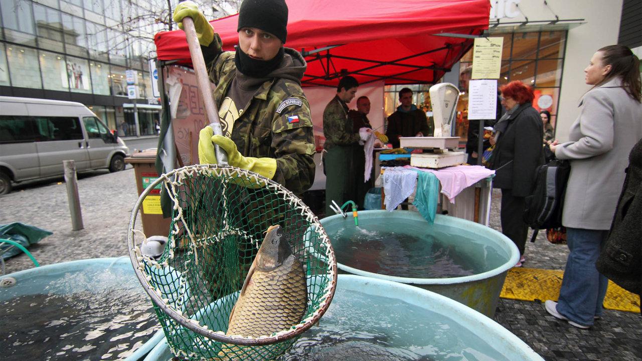 Bez EET. Iletos stačí prodejcům ryb kpodnikání váha, stejně jako natomto obrázku zloňských Vánoc. EET pro ně není povinná.