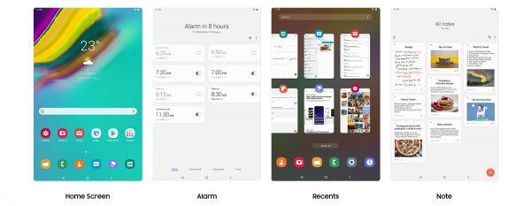 Různé obrazovky Samsung Galaxy Tab S5e.