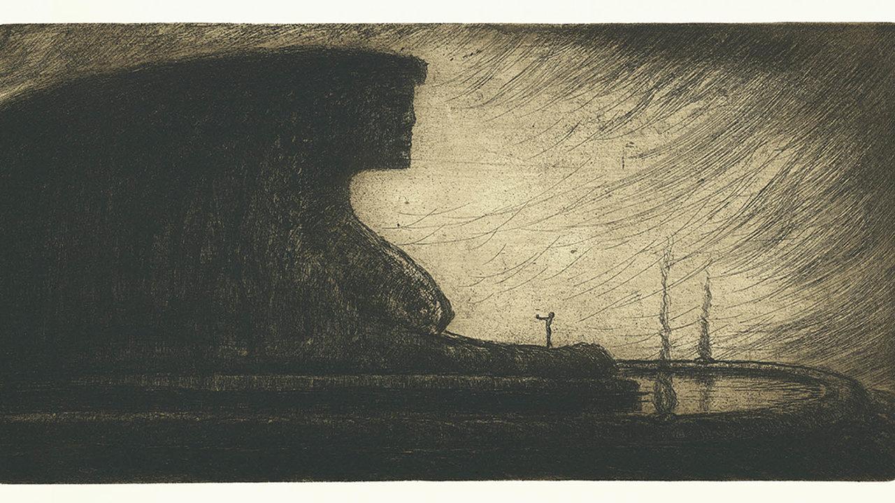 Častým námětem Drtikolových grafik je nahá žena splývající stemnou krajinou. Výstava byla prodloužena do17. srpna.
