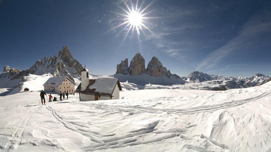 Za dva a půl dne v Dolomitech jsme na lyžích ujeli asi 86 km.