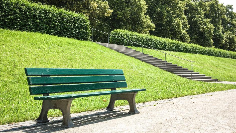 Lavička, park, ilustrační