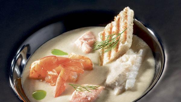 Chowder– krémová rybí polévka skrevetami