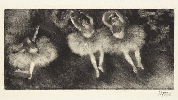 Edgar Degas: T�i baletky, zhruba 1878 a� 1880, monotyp