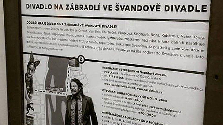 Plakát oznamující dočasný přesun inscenací z Divadla Na zábradlí do Švandova divadla.