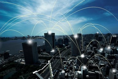 Spouštění 5G sítí a mobilního internetu věcí na vzestupu, ilustrace