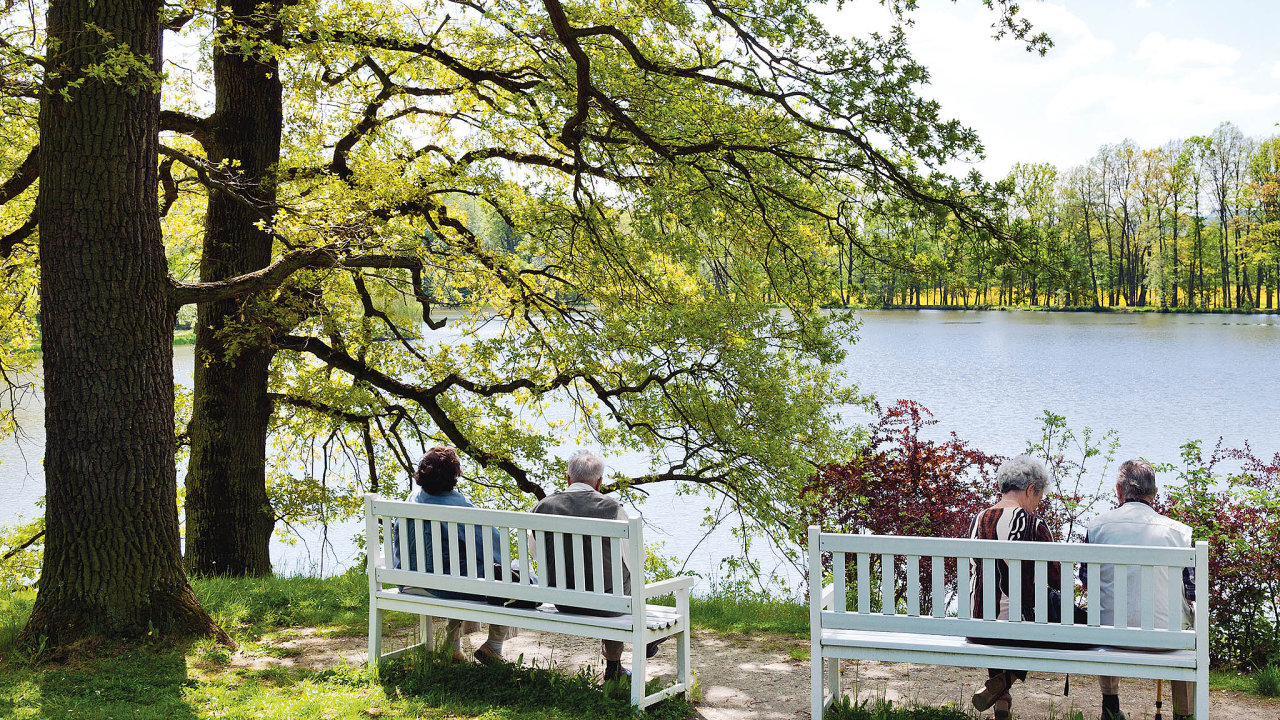 Park zámku Kozel za Lopateckým rybníkem byl původně osázen více než 6000 stromy.