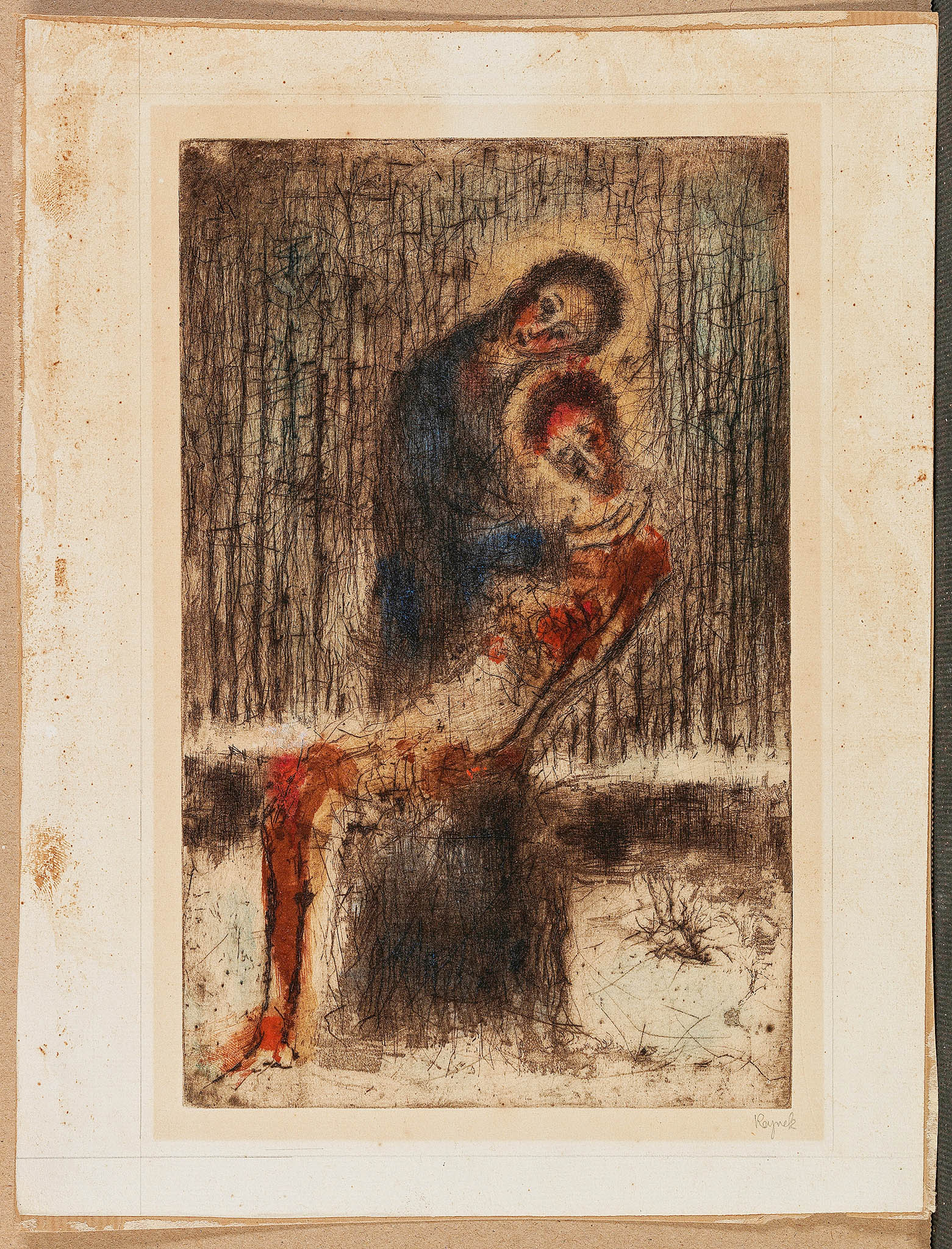 Bohuslav Reynek: Pieta vparku (Pieta smodrým pozadím), suchá jehla smonotypem napapíře, 24,4x15,6 centimetru,1955