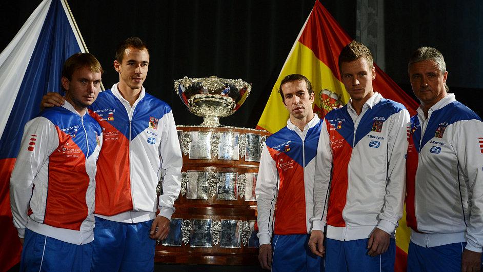 Český tým připravený na finále Davis Cupu.