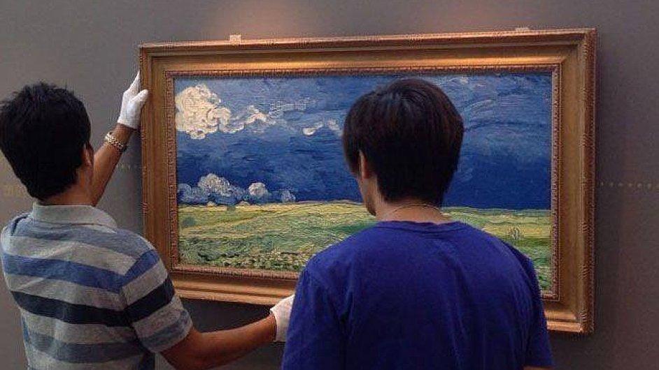 3D kopie Van Goghova obrazu Pšeničné pole pod bouřkovými mraky z rokou 1890