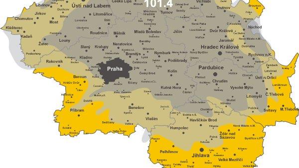 Mapa pokryti Radia Contact Liberec