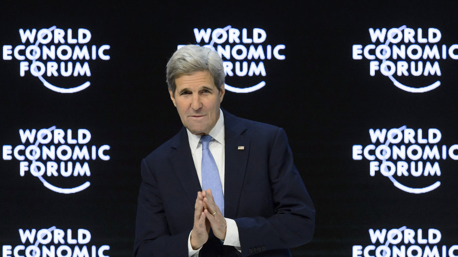 U.S. Secretary of State John Kerry reacts during a panel session at the 46th Annual Meeting of the World Economic Forum