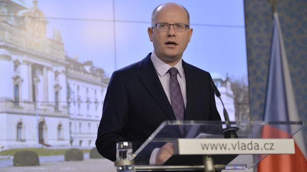 Premiér Sobotka na bilanční tiskové konferenci.