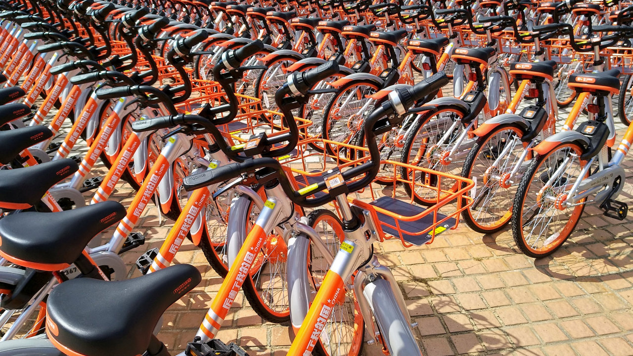 Sdílená kola Mobike v Číně.