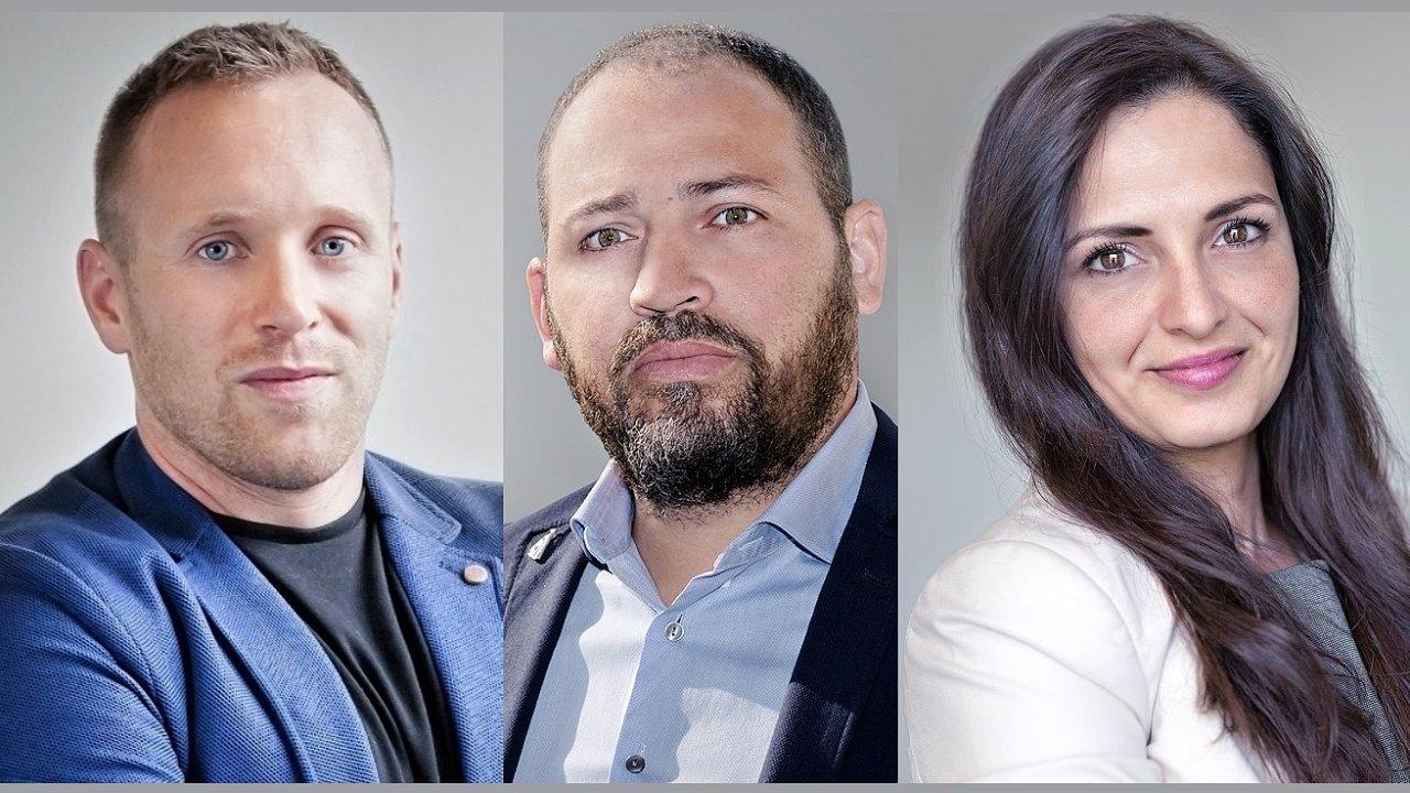 Roman Horáček, Petr Hingar a Gabriela Benedová, obchodní tým pro zahraniční trhy a finanční sektor společnosti Etnetera