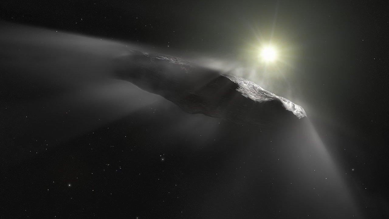 Umělecké ztvárnění mezihvězdného objektu `Oumuamua.