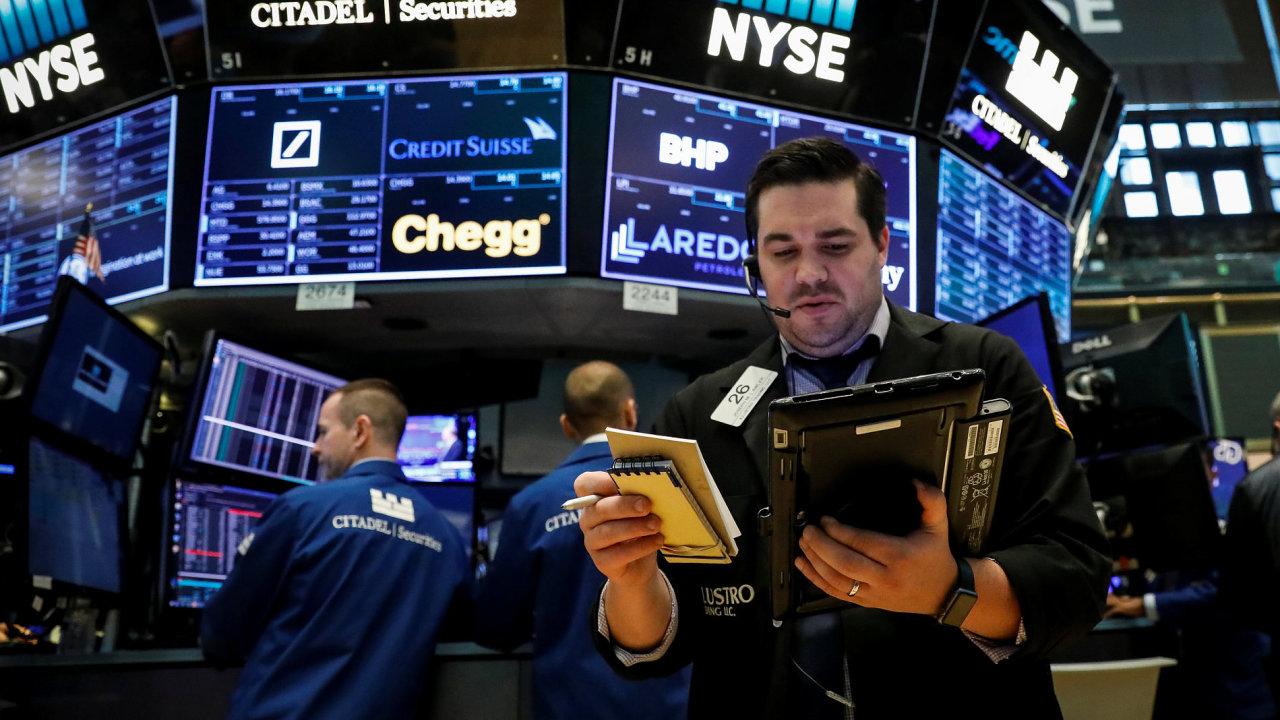 Burza cenných papírů v New Yorku.