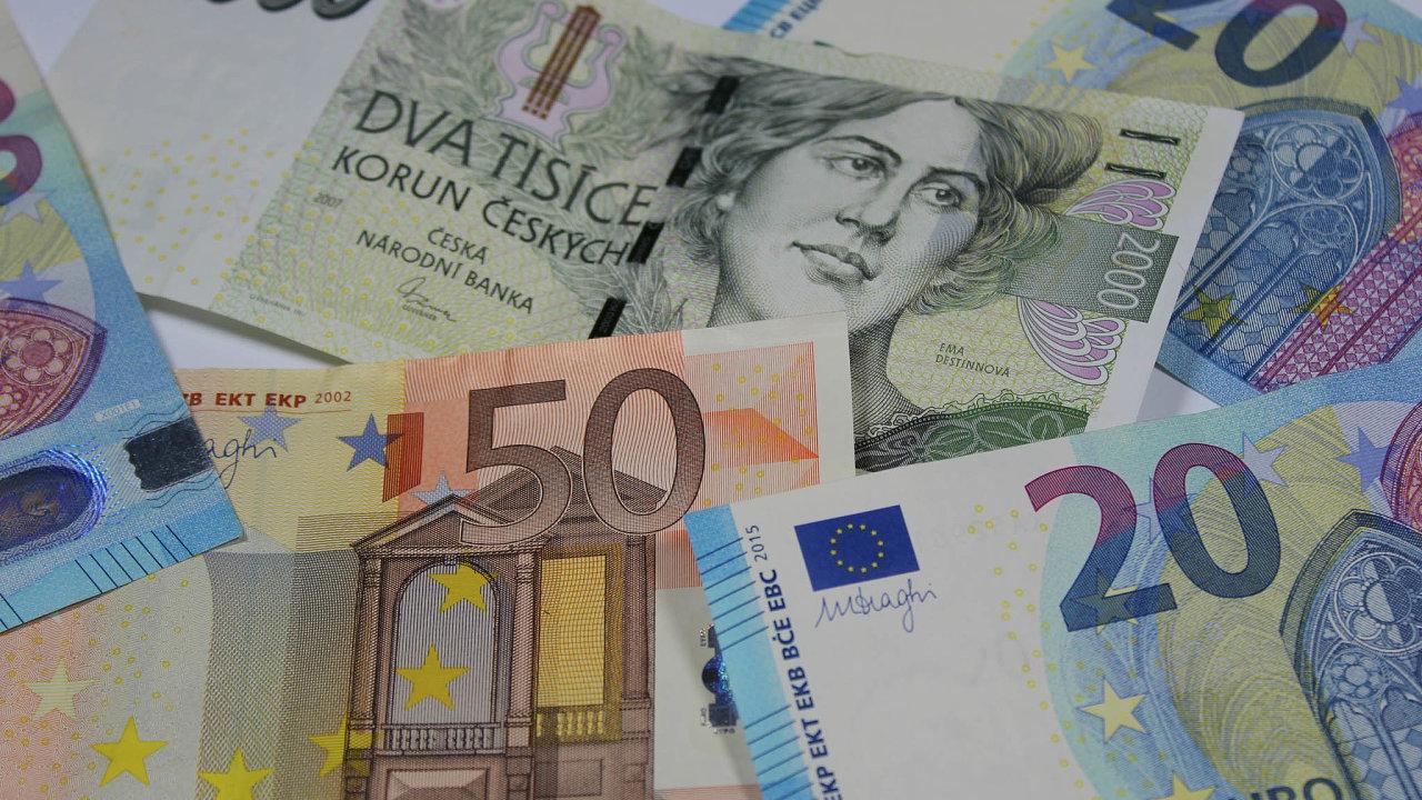 Koruna k euru kvůli dění kolem pandemie koronaviru výrazně ztrácí.