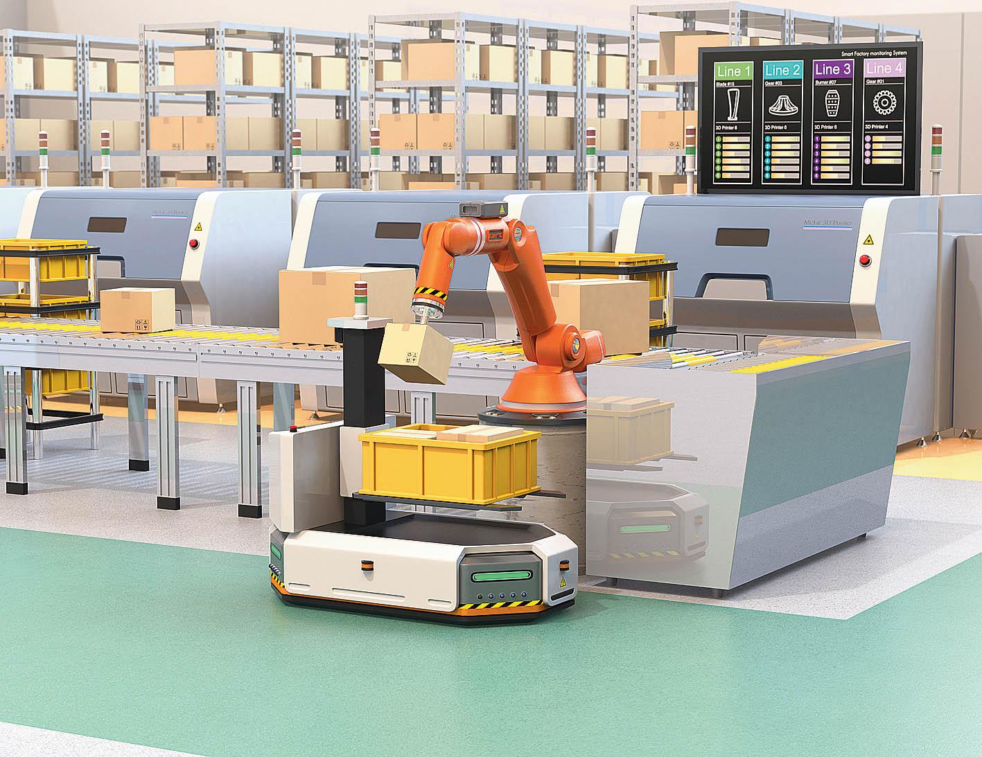 Jde to ibez lidí– automatizovaný vozík přiváží ze skladu přepravku svychystanými položkami, které odebírá robotická ruka apokládá je na pás.