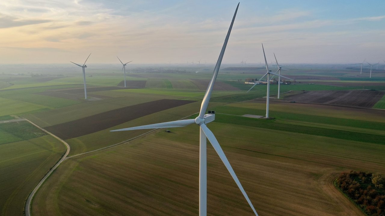 Větrné turbíny, větrná elektrárna