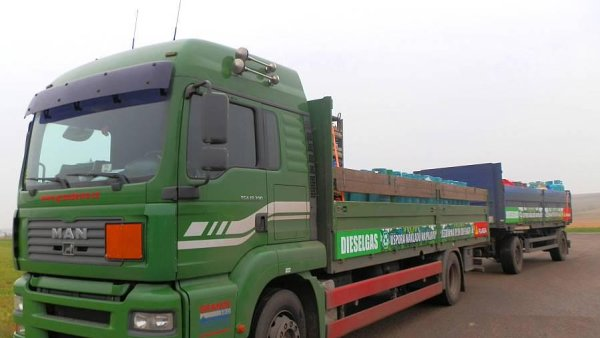 Nákladní vůz vybavený systémem Dieselgas